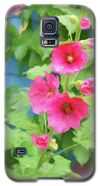 Galaxy S5 Case featuring the photograph Hollyhocks - 1 by Nikolyn McDonald