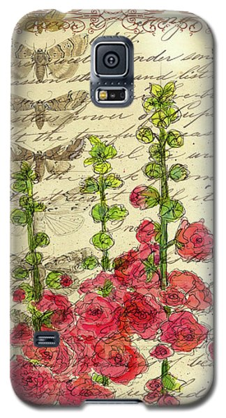 Galaxy S5 Case featuring the drawing Hollyhocks And Butterflies  by Cathie Richardson
