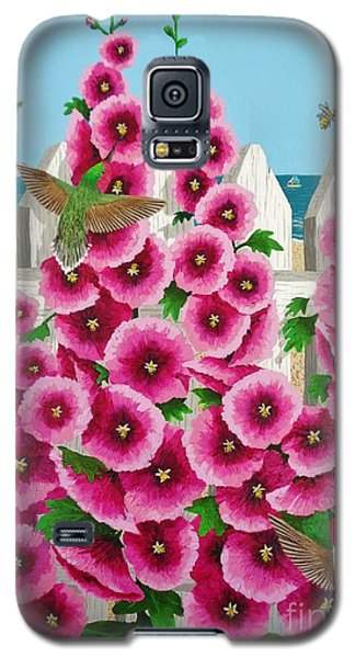 Galaxy S5 Case featuring the painting Hollyhocks And Humming Birds by Katherine Young-Beck