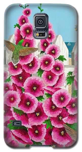 Hollyhocks And Humming Birds Galaxy S5 Case by Katherine Young-Beck