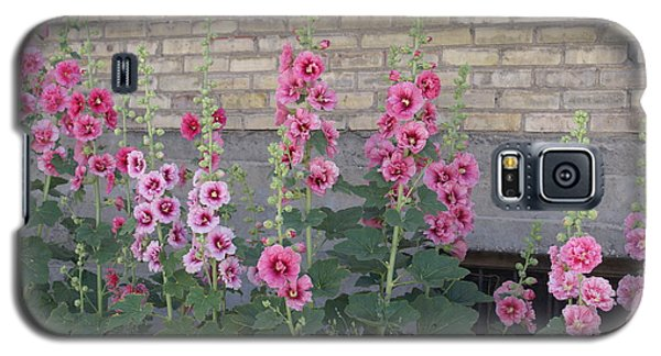 Galaxy S5 Case featuring the photograph Hollyhocks by Cynthia Powell
