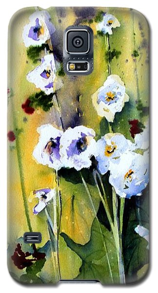 Galaxy S5 Case featuring the painting Hollyhocks by Marti Green