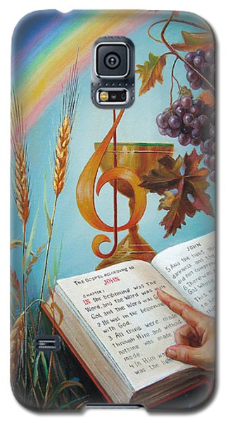 Galaxy S5 Case featuring the painting Holy Bible - The Gospel According To John by Svitozar Nenyuk