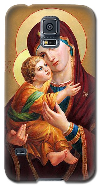 Galaxy S5 Case featuring the painting Holy Mother Of God - Blessed Virgin Mary by Svitozar Nenyuk