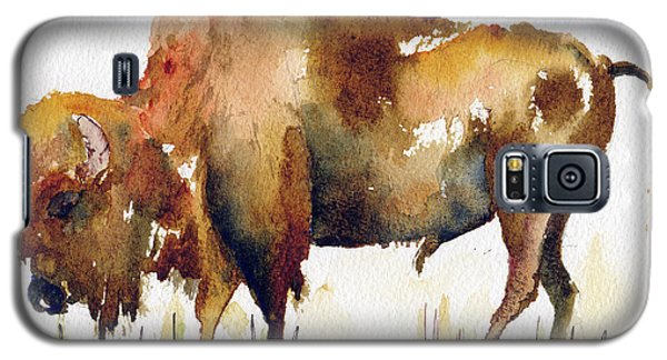 Galaxy S5 Case featuring the painting Home On The Range Buffalo by Pat Katz