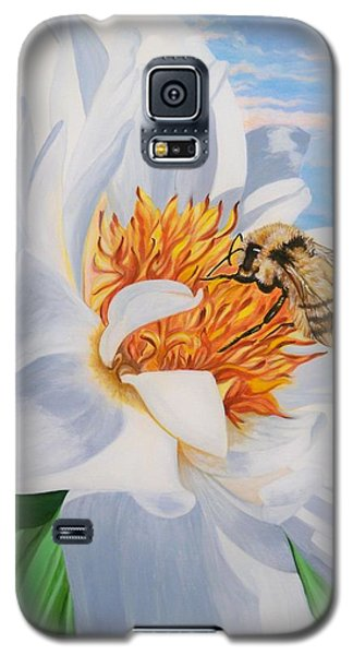 Honey Bee On White Flower Galaxy S5 Case by Sigrid Tune