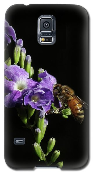 Galaxy S5 Case featuring the photograph Honeybee On Golden Dewdrop by Richard Rizzo