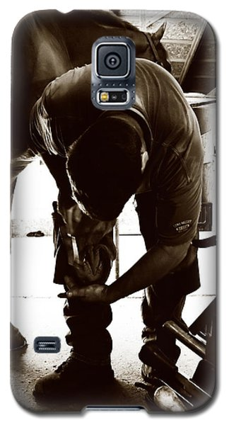 Galaxy S5 Case featuring the photograph Horse And Farrier by Angela Rath