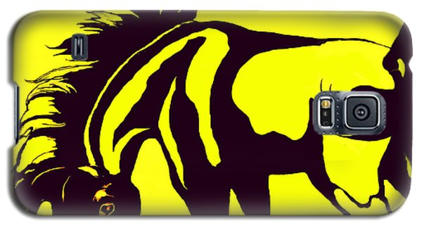 Galaxy S5 Case featuring the digital art Horse-black And Yellow by Loxi Sibley