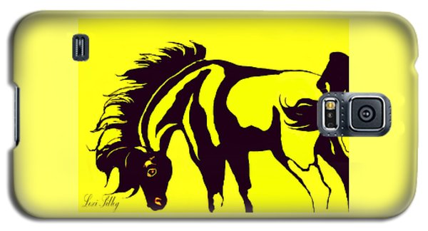 Horse-black And Yellow Galaxy S5 Case by Loxi Sibley