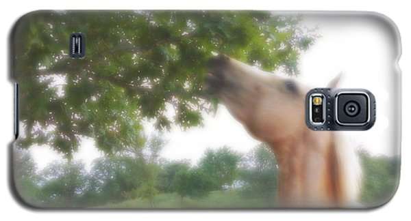 Galaxy S5 Case featuring the digital art Horse Grazes In A Tree by Jana Russon