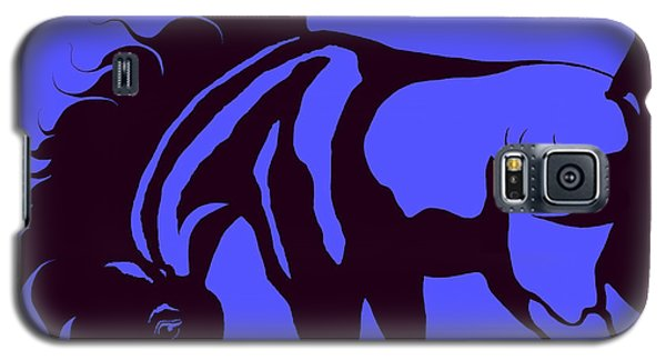 Galaxy S5 Case featuring the digital art Horse In Blue And Black by Loxi Sibley