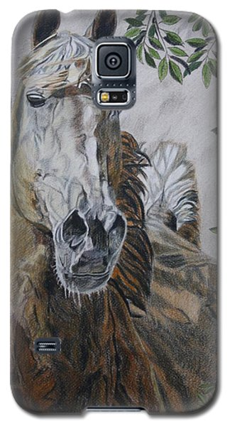 Galaxy S5 Case featuring the drawing Horse by Melita Safran