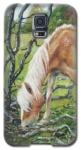 Galaxy S5 Case featuring the painting Horse With Burnt Tree by Martin Davey