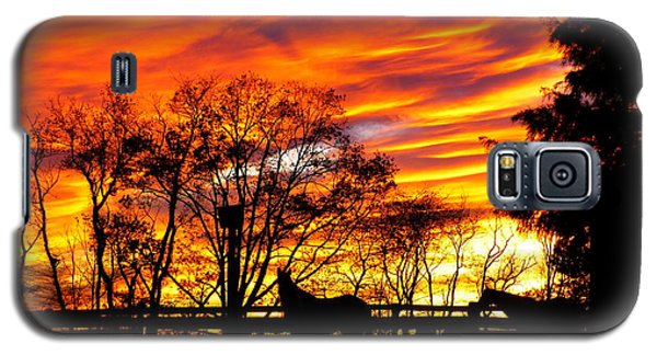 Galaxy S5 Case featuring the photograph Horses And The Sky by Donald C Morgan
