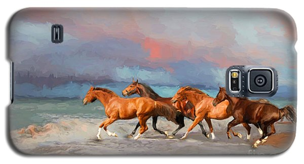 Horses At The Beach Galaxy S5 Case by Mim White