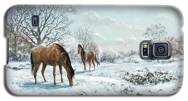 Galaxy S5 Case featuring the digital art Horses In Countryside Snow by Martin Davey
