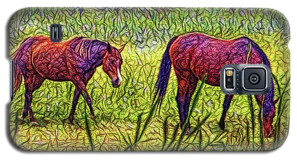 Horses In Tranquil Field Galaxy S5 Case