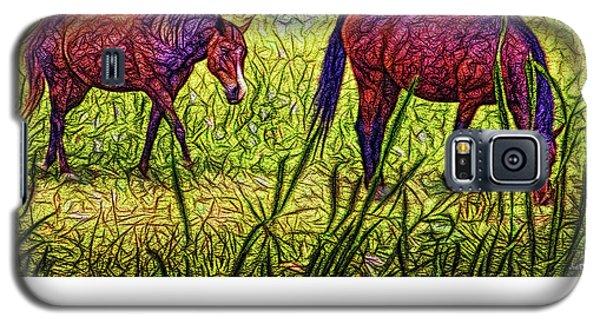 Horses In Tranquil Field Galaxy S5 Case by Joel Bruce Wallach