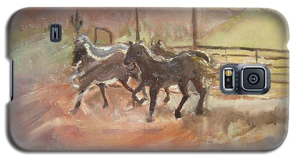 Galaxy S5 Case featuring the painting Horses by Julie Todd-Cundiff