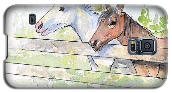 Horse Galaxy S5 Case - Horses Watercolor Sketch by Olga Shvartsur
