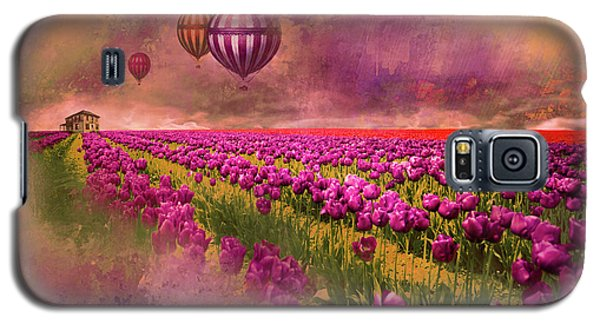 Galaxy S5 Case featuring the photograph Hot Air Balloons Over Tulip Fields by Jeff Burgess