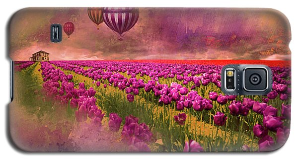 Hot Air Balloons Over Tulip Fields Galaxy S5 Case