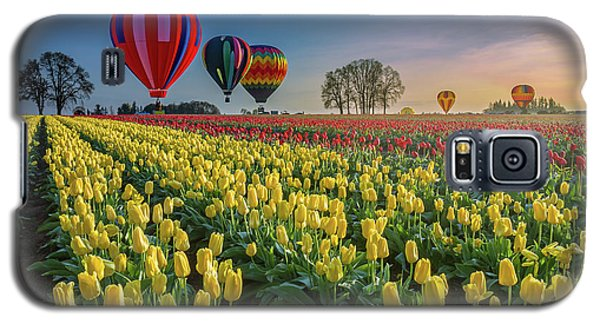 Galaxy S5 Case featuring the photograph Hot Air Balloons Over Tulip Fields by William Lee
