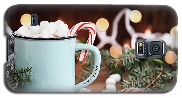 Galaxy S5 Case featuring the photograph Hot Cocoa With Marshmallows And Candy Canes by Stephanie Frey