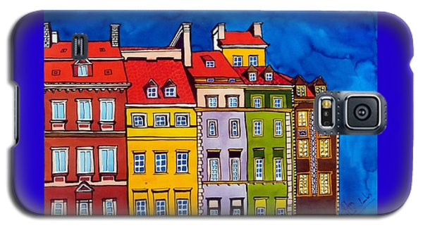 Galaxy S5 Case featuring the painting Houses In The Oldtown Of Warsaw by Dora Hathazi Mendes