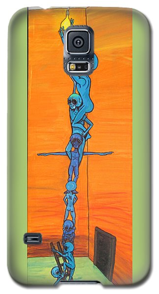 Galaxy S5 Case featuring the painting How Many Aliens Does It Take To Screw In A Light Bulb?  Seven. by Similar Alien