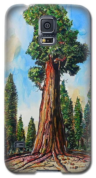 Galaxy S5 Case featuring the painting Huge Redwood Tree by Terry Banderas