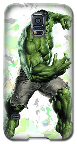 Galaxy S5 Case featuring the mixed media Hulk Splash Super Hero Series by Movie Poster Prints