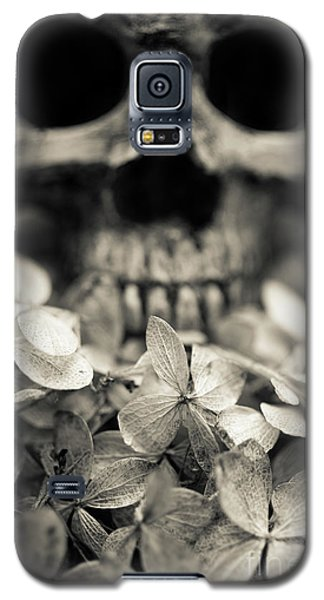Galaxy S5 Case featuring the photograph Human Skull Among Flowers by Edward Fielding