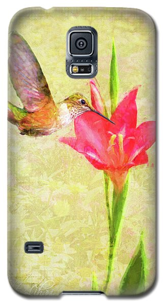 Galaxy S5 Case featuring the digital art Hummingbird And Flower by Christina Lihani