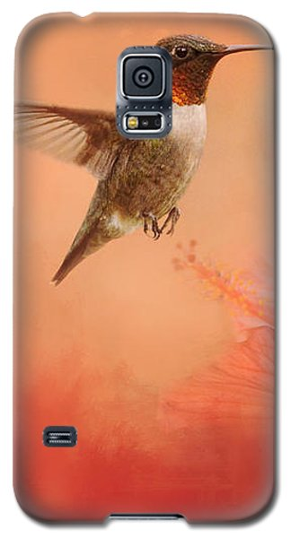 Hummingbird And Peach Hibiscus Galaxy S5 Case