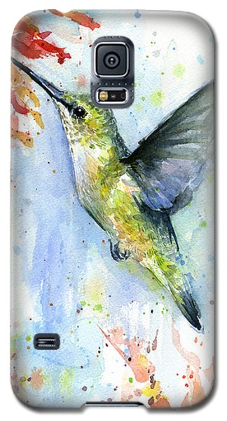 Hummingbird And Red Flower Watercolor Galaxy S5 Case by Olga Shvartsur