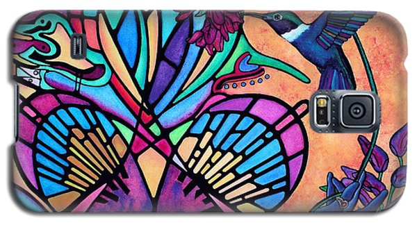 Galaxy S5 Case featuring the painting Hummingbird And Stained Glass Hearts by Lori Miller