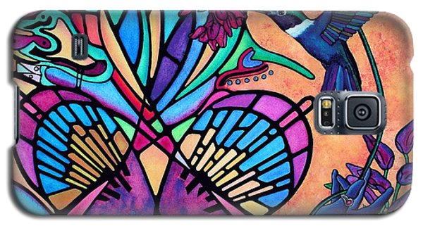 Hummingbird And Stained Glass Hearts Galaxy S5 Case by Lori Miller
