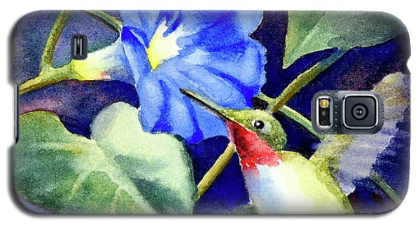 Galaxy S5 Case featuring the painting Hummingbird Delight by Bonnie Rinier
