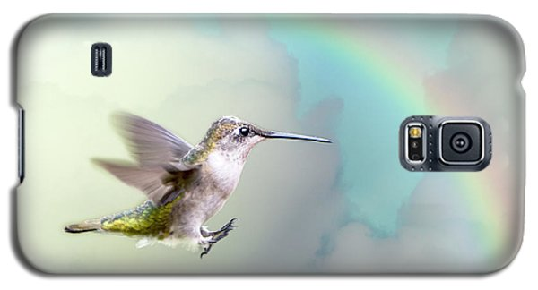 Galaxy S5 Case featuring the photograph Hummingbird Under Rainbow by Bonnie Barry