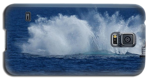 Humpback Whale Breaching Close To Boat 23 Image 3 Of 4 Galaxy S5 Case by Gary Crockett