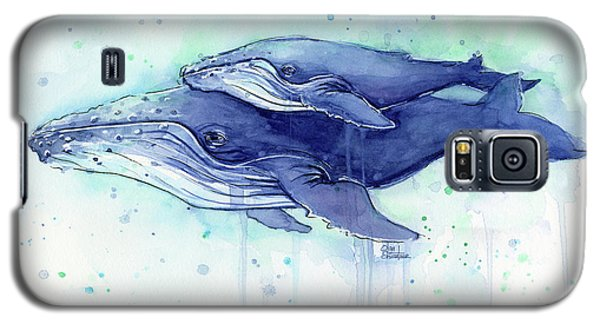 Whale Galaxy S5 Case - Humpback Whale Mom And Baby Watercolor by Olga Shvartsur