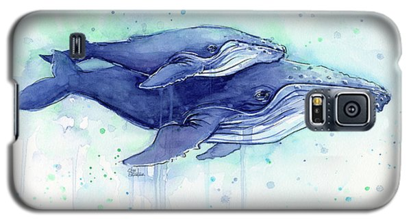 Whale Galaxy S5 Case - Humpback Whales Mom And Baby Watercolor Painting - Facing Right by Olga Shvartsur