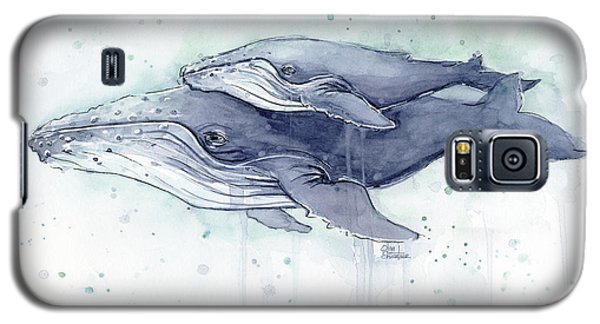 Whale Galaxy S5 Case - Humpback Whales Painting Watercolor - Grayish Version by Olga Shvartsur