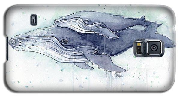 Humpback Whales Painting Watercolor - Grayish Version Galaxy S5 Case by Olga Shvartsur