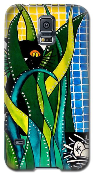 Galaxy S5 Case featuring the painting Hunter In Camouflage - Cat Art By Dora Hathazi Mendes by Dora Hathazi Mendes