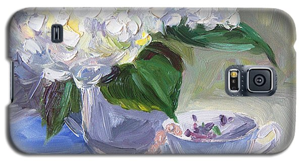 Galaxy S5 Case featuring the painting Hydrangeas With Pearls  by Jennifer Beaudet