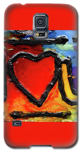 Galaxy S5 Case featuring the painting I Heart You by Genevieve Esson