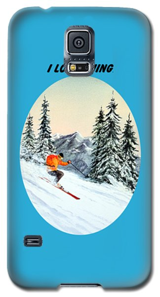 Galaxy S5 Case featuring the painting I Love Skiing  by Bill Holkham